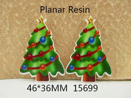 5 X 36MM CHRISTMAS TREE XMAS LASER CUT FLAT BACK RESIN HEADBANDS HAIR BOWS